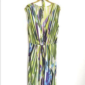 London Times Plus Sz Maxi Dress Hi Low Multicolor